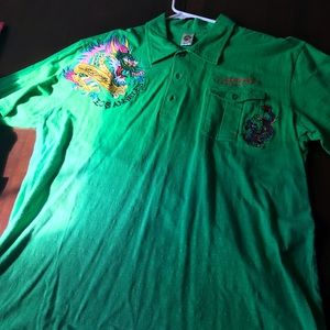 Men's new Ed hardy green short sleeves polo.